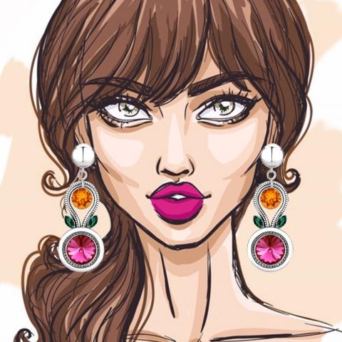 Our Dahlia earrings boast the perfect color combination to enhance your everyday style. 🤩 - Nos boucles d'oreilles Dahlia ont les couleurs parfaites pour sublimer votre style de tous les jours. 🤩    #fashion #style #illustration #jewelry #crystals #swarovskicrystals #bossbabe #sparkle