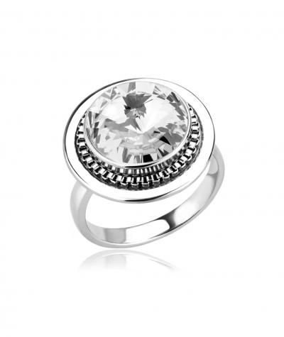 Stainless steel ring with Swarovski crystal