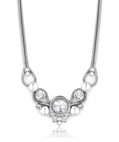 Stainless steel necklace with Swarovski crystals